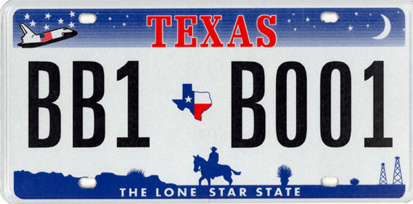 Current Texas license plate