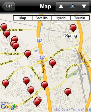 Offender Locater iPhone APP sex offenders Spring Texas
