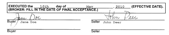 spring texas real estate contract date