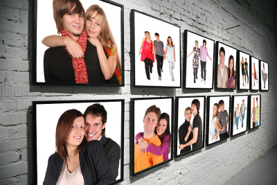 wall of personal photos