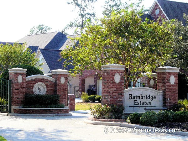 Bainbridge Estates gated community spring texas